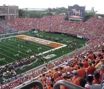 The south endzone of Memorial Stadium filled with fans as the Fightin Illini take on the Panthers of Eastern Illinois