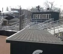 The grandstands and press box at Old College Field.