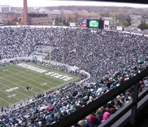 Thousands of fans enjoying a cold last home game at Spartan Stadium in East Lansing