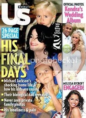 Capa da revista US Weekly - Michael Jackson e seus filhos Prince e Paris