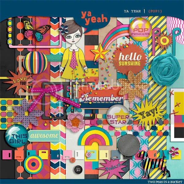 Pop Free Digital Scrapbooking Kit