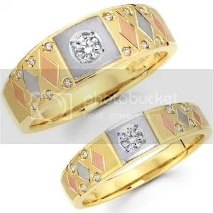14K Tri Color His and Hers Wedding Band Set