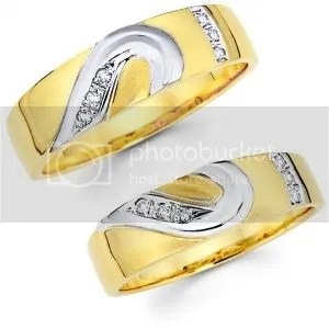 14K Two Tone Matching Heart Wedding Band Set