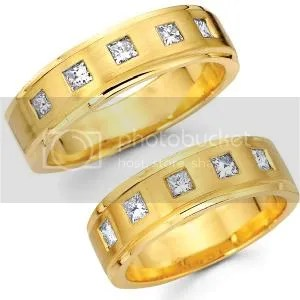 14K Yellow Gold Princess Bezel Set Diamond Wedding Bands