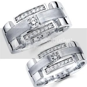Matching His and Hers 14K White Gold Diamond Wedding Bands