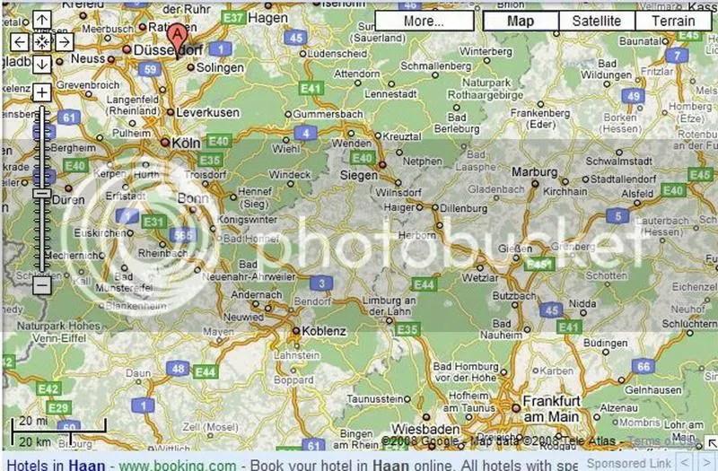 Map of Düsseldorf, Haan, Cologne and Frankfurt, Germany