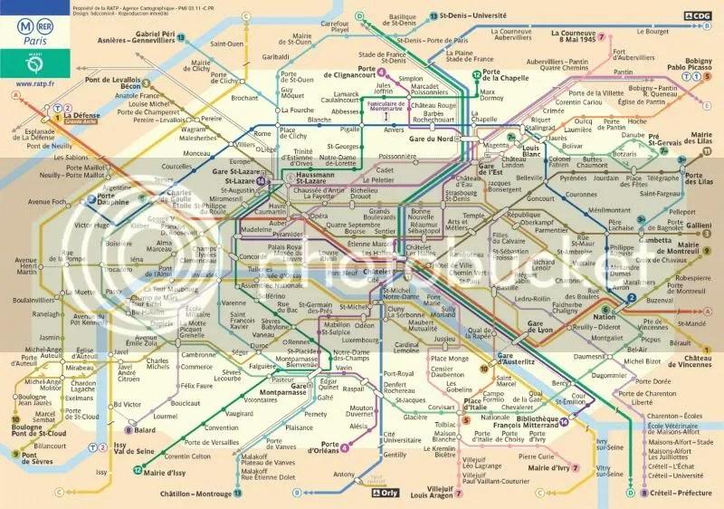 Map of Subway System - Paris