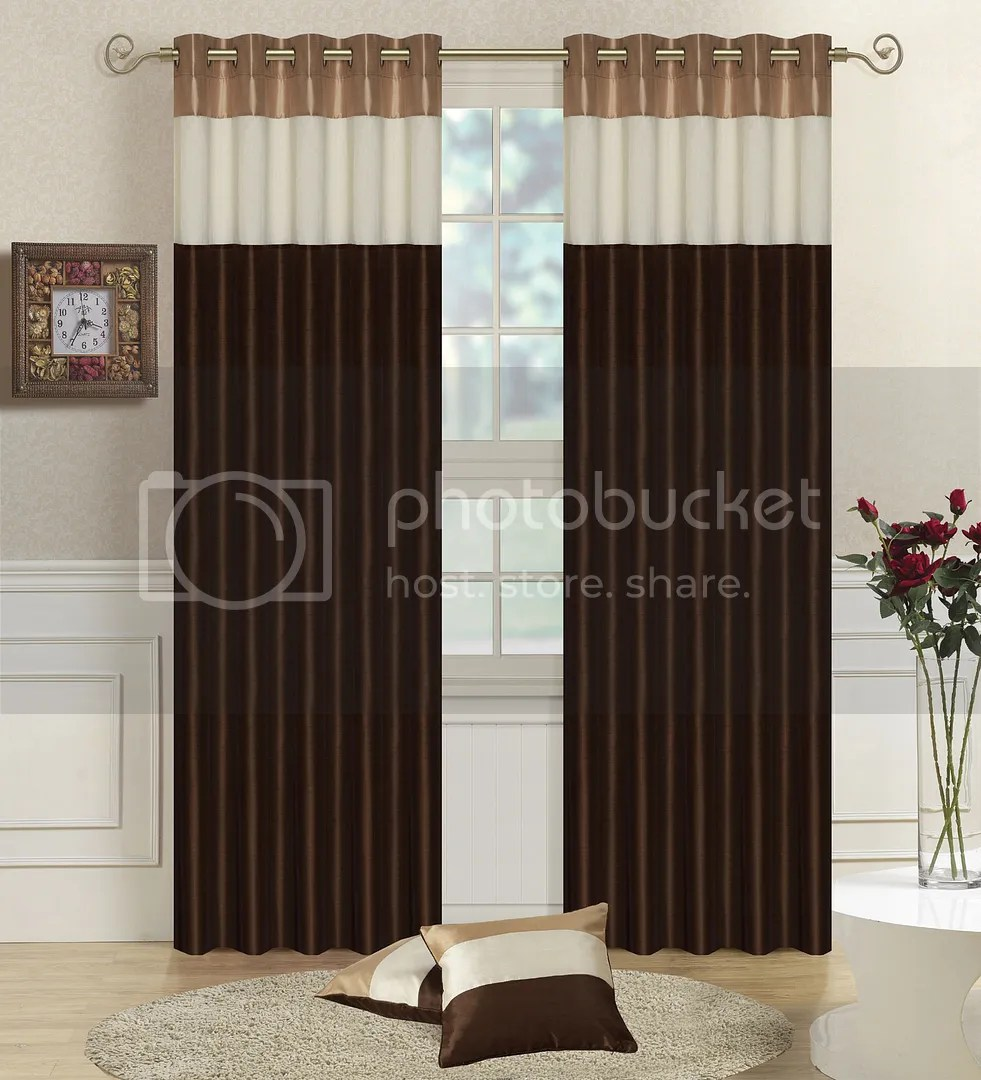 New FAUX SILK Fully Lined Striped CURTAINS Eyelet Ring Top Free Tiebacks EBay