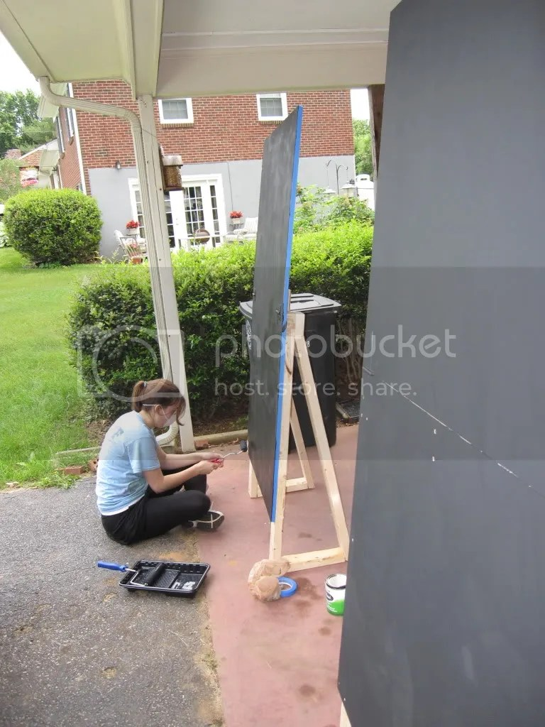 Yay painting! Its super cool - the paint turns the face of the sign into a chalkboardlike surface!