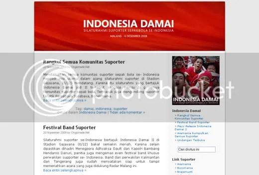 Screenshot weblog Indonesia Damai