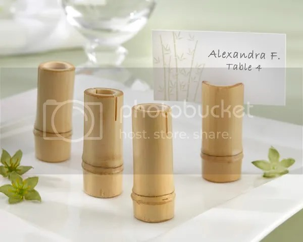 """Tranquility"" Eco-Friendly Bamboo Place Card Holder with Matching Place Cards (Set of 4)"