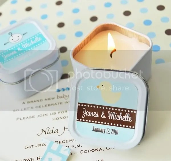 Personalized Square Candle Tin Baby Shower Favor