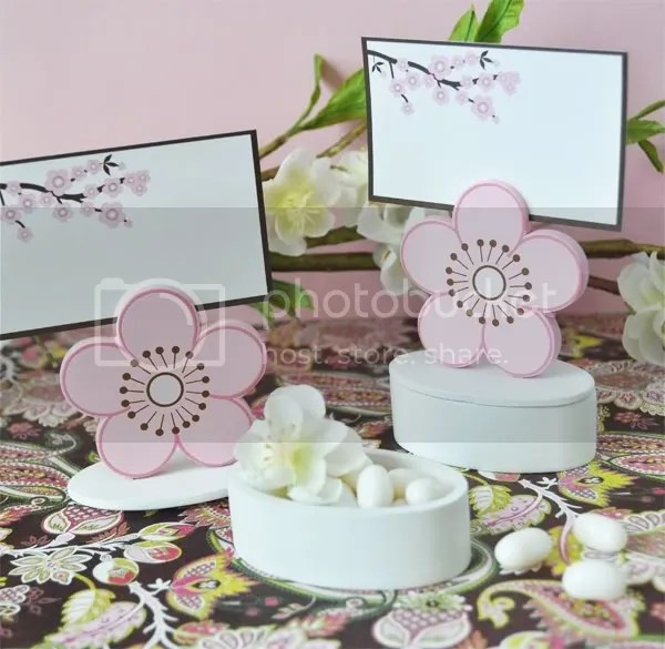Cherry Blossom Asian Theme Place Card Favor Box