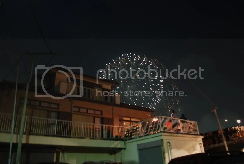 Fireworks behind house