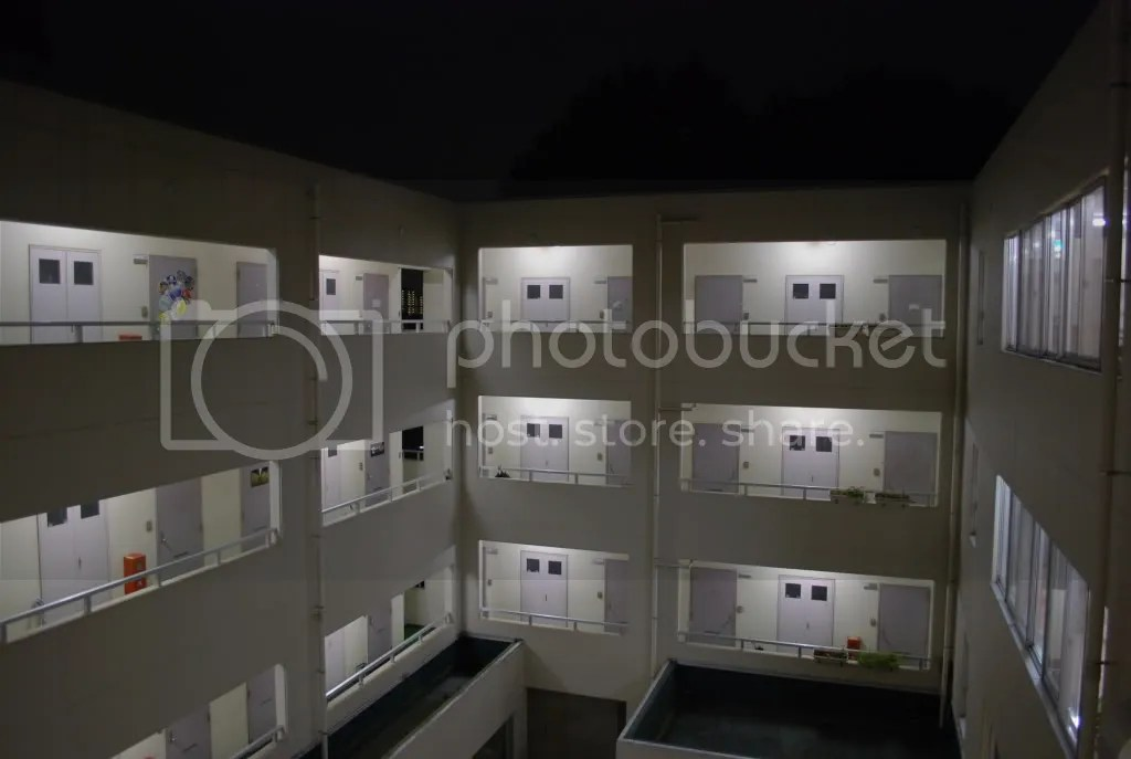 The dorm at night. Our hallways are open to the outside and you can see everyone as they walk by.