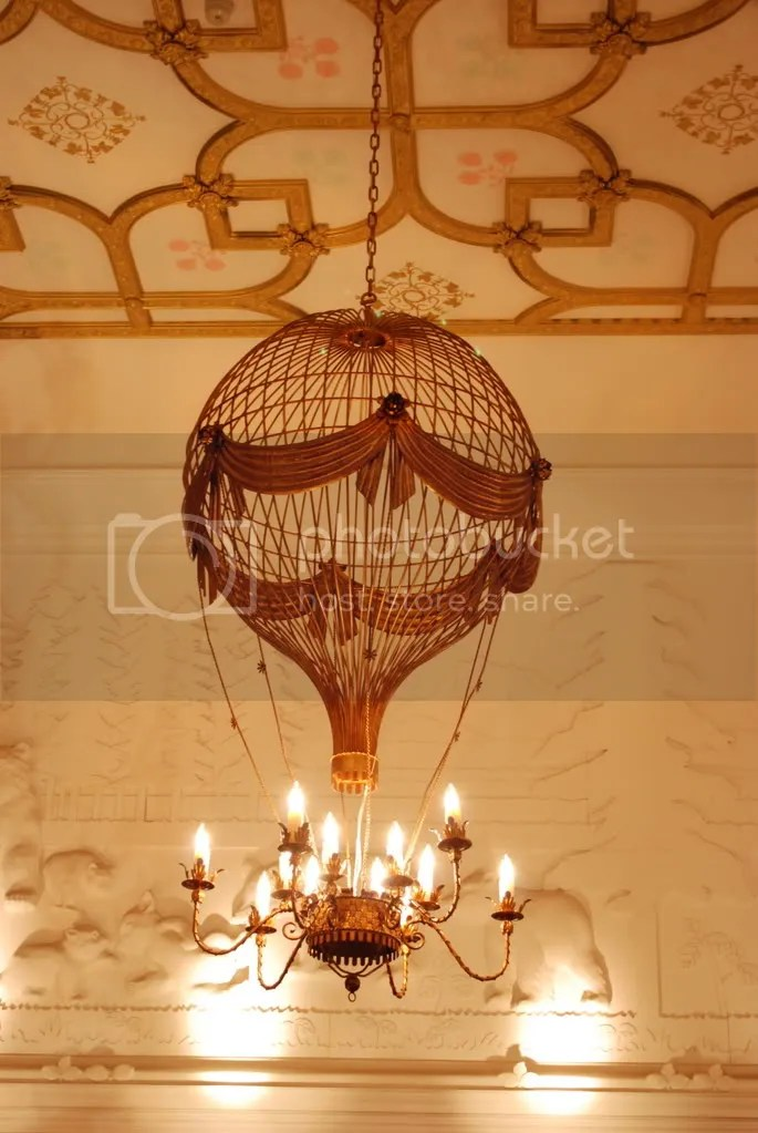 Hot air balloon chandelier above the grand staircase