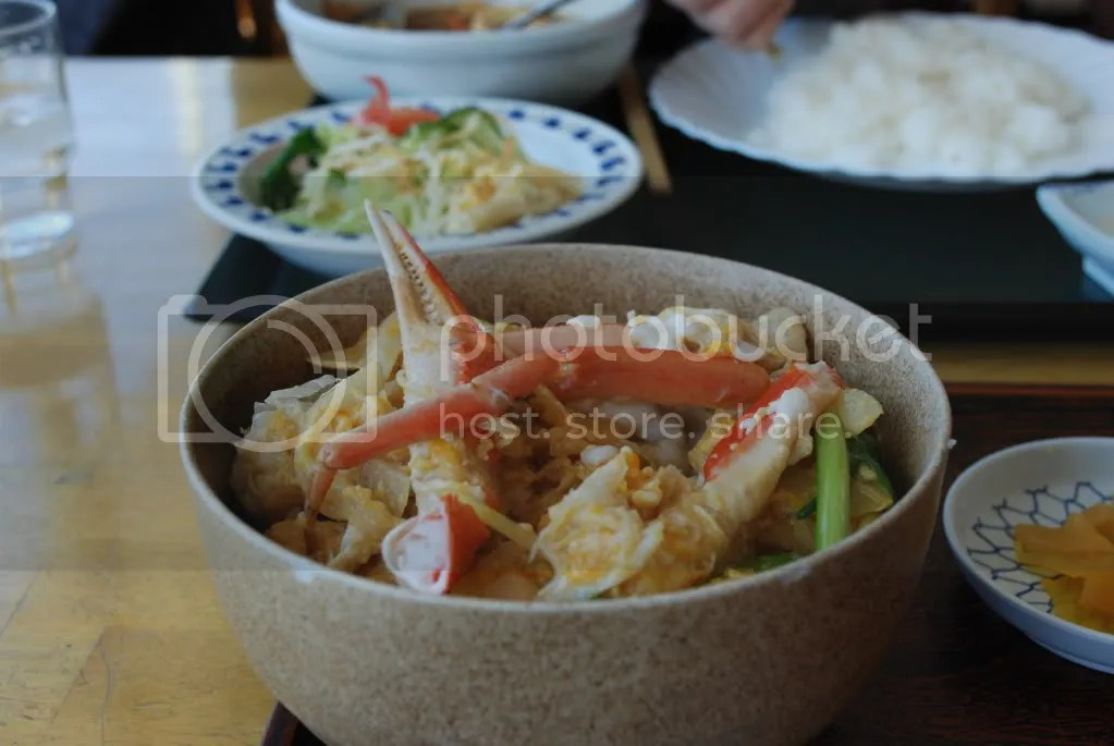 Kani-don. Crab over rice.