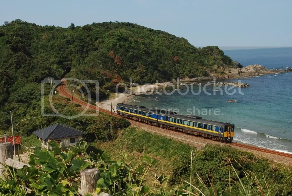 Train by the sea