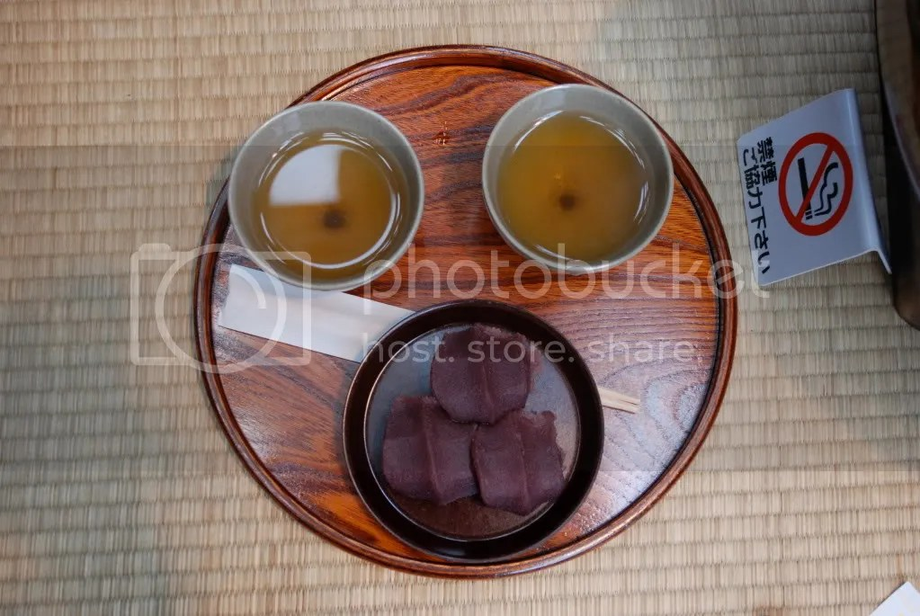 Aka Fuku mochi and our tea. It makes a face!
