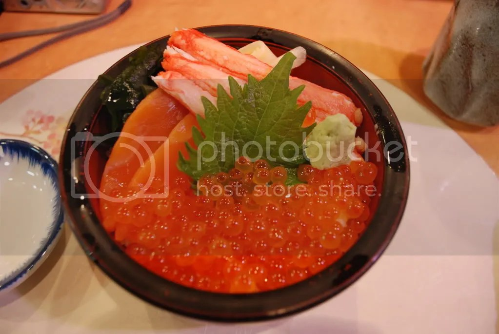 We took a day trip to Otaru city, famous for its sushi. I had a sushi donburi (sushi over rice). They called the set I ordered the Ohstosk Sea set. The sushi on it was salmon, salmon roe, and crab. I mostly wanted to try the crab because Hokkaido is famous for crab and I wanted some before I left. That was tasty, but I didnt enjoy the salmon roe as much. Im not a big fan of salmon roe.