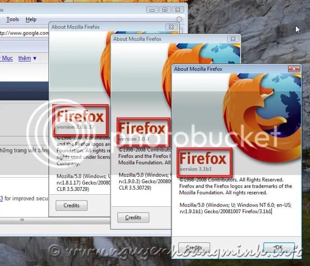 3 Version của Firefox đồng thời chạy trên cùng 1 máy