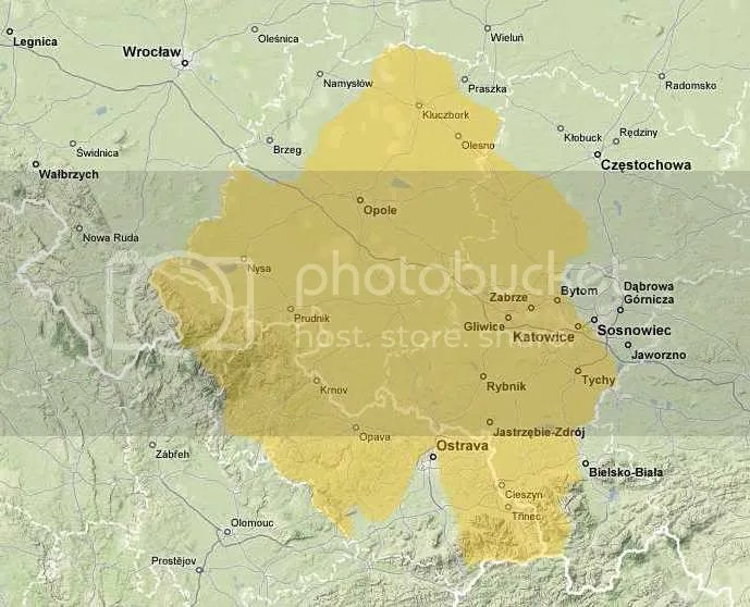 mapa Górnego Śląska