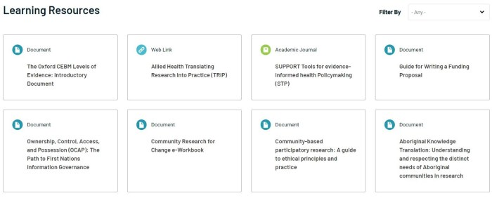 Learning resources on the Knowledge Translation Pathways website