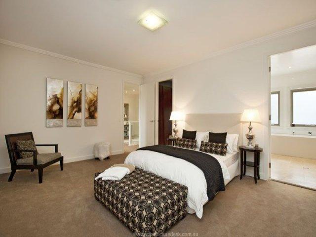Modern bedroom design idea with carpet & built-in desk ...