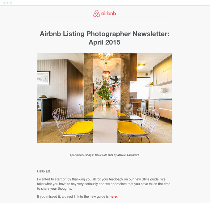 Airbnb - Newsletter via email