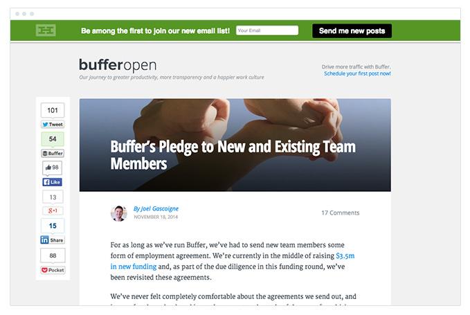 Bufferopen - Call to Action - Header Bar