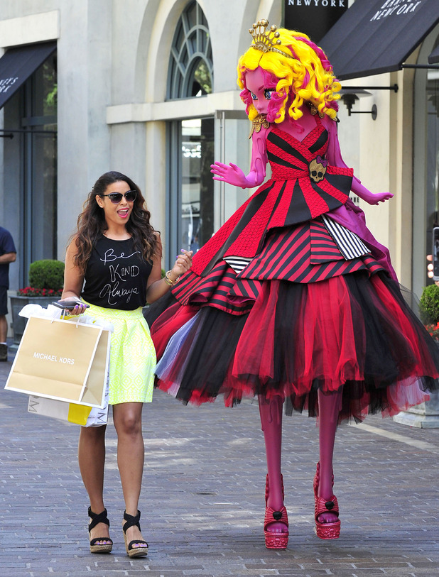 Jordin Sparks and 'Monster High' character Gooliope at The Grove - 14 Jul 2015