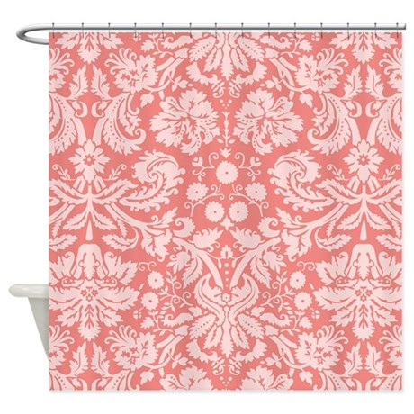Coral Pink Damask Floral Shower Curtain By ClipArtMEGAmart