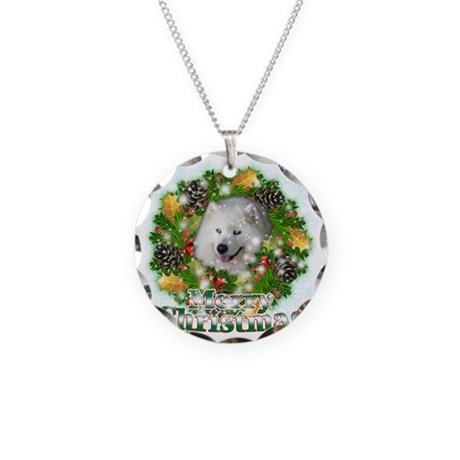 Merry Christmas Samoyed Necklace Circle Charm By Admin