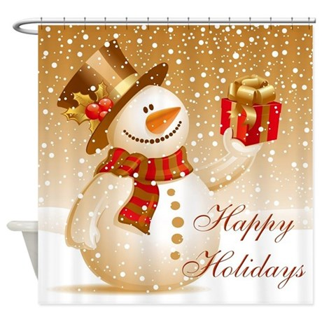 Happy Holidays Golden Snowman Shower Curtain By Naturetees