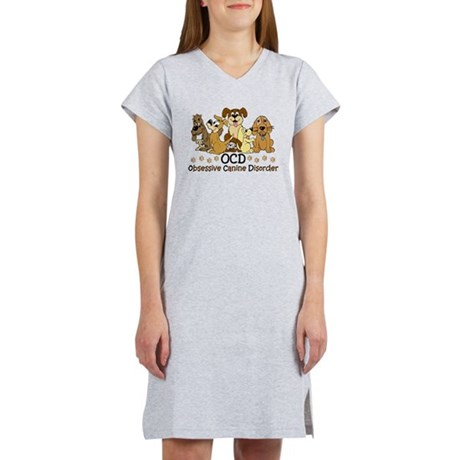 OCD Obsessive Canine Disorder Women's Nightshirt. 7 colorful dogs in different colors. Funny dog spoof / parody to obsessive compulsive disorder. For dog lovers and and dog fostering / dog sitting / dog walkers. Do they call you the crazy dog lady /