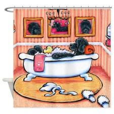 Just 5 More Minutes black poodle dog Shower Curtain