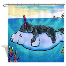Water Babies black poodle Shower Curtain