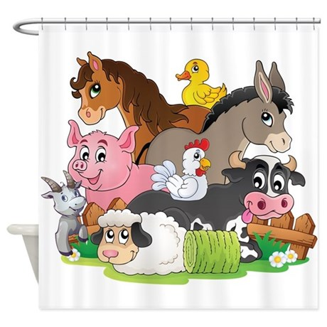 Cute Cartoon Farm Animals Shower Curtain By Getyergoat