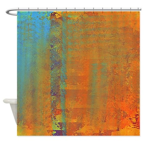 Abstract In Aqua Copper And Gold Shower Curtain By Listing Store 113075623