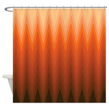 Brown Orange Beige Ombre Chevron Shower Curtain By VInk
