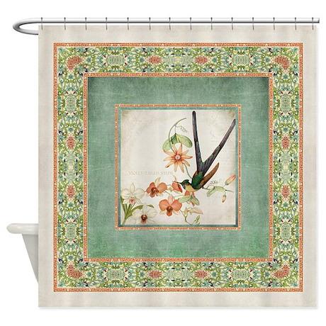 Chinoiserie Hummingbird Botanical E Shower Curtain By AdminCP113518717
