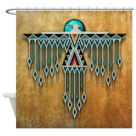 Southwest Native Style Thunderbird Shower Curtain By