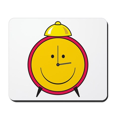 Smiley Face Alarm Clock Mousepad by dagerdesigns
