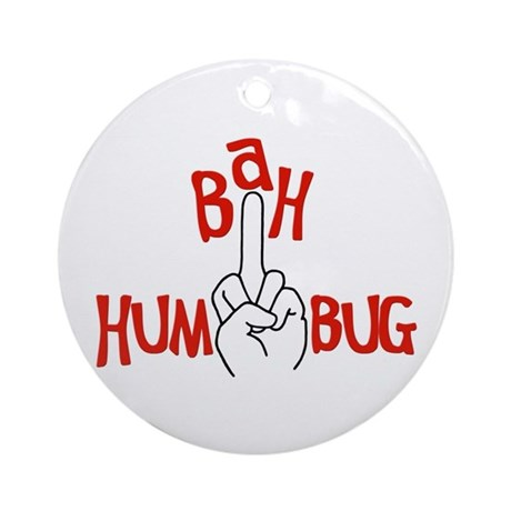 Bah Humbug Finger Christmas Ornament Round By Tshirtsgifts