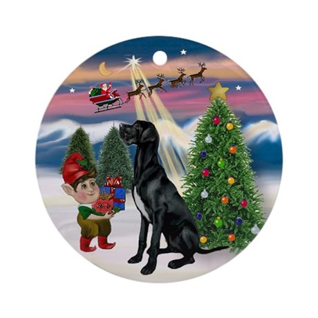 Black Great Dane Amp Christmas Tree Ornament Round By