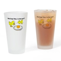 Holy Crap! Pete, is that you? Drinking Glasses.  Funny chick cartoon design. Great for humor or vegetarians / vegans. Also for funny Easter greetings.