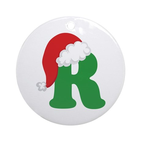 Christmas Letter R Alphabet Ornament Round By