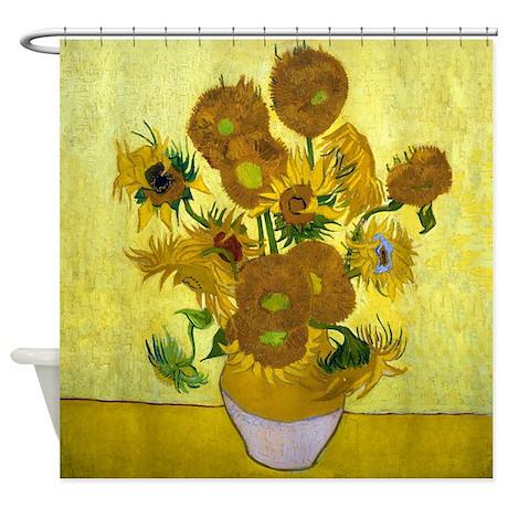Van Gogh 15 Sunflowers Shower Curtain By Designdivagifts2