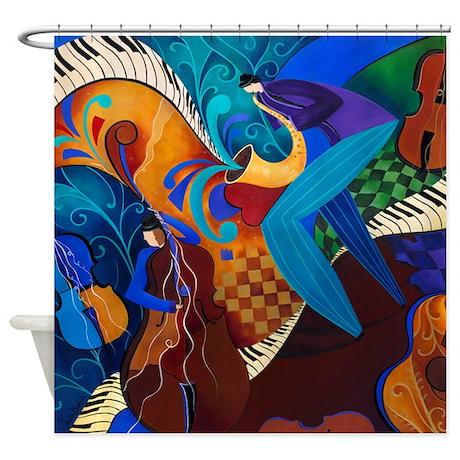 The Jazz Music Players Shower Curtain By Juleezart