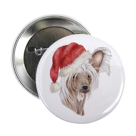 Christmas Chinese Crested Dog Button By Doggyprint